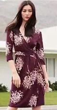 BNWT ��Next �� Size 6 Floral Viscose Aubergine Wrap Dress (34 EU) XS 3/4 Sleeves