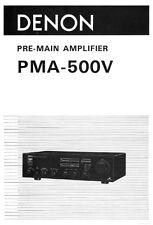 Denon PMA-500V Pre-Main Amplifier Owners Manual