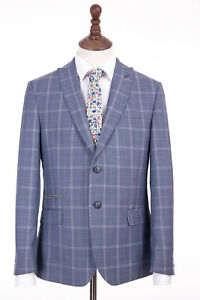 Men-039-s-Antique-Rogue-Slim-Fit-Suit-Blue-Check-42R-W36-L31