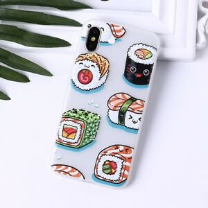 Sushi-Rolls-Cakes-Patterned-Case-For-iPhone-XS-X-8-7-6-Plus-Soft-TPU-Back-Cover