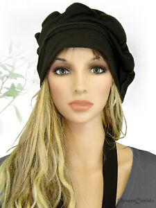 Details zu PoCo DeSiGn° LAGENLOOK Ballon Mütze Beanie Slouch Chemo Cap Edel Jersey schwarz