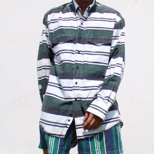 Wrangler 90s Green White Striped Long Sleeve Butto