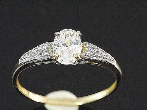 333 anillo de oro con tomadas circonita piedras tamaño 52 con 4 krappen