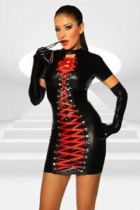 Sexy-Women-Wet-Look-Faux-Leather-Mini-Dress-LaceUp-Front-PVC-Clubwear-Nightwear