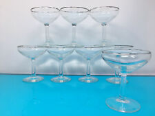 Set of 8 silver rimmed Champagne Coupe glasses Mid Century Glasses Thorpe style
