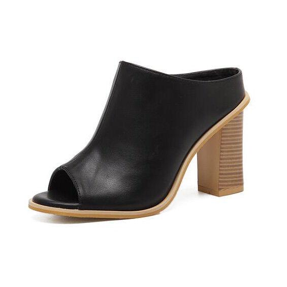 Sabot ciabatte 9 cm eleganti black beige  tacco quadrato sandali simil pelle 9991