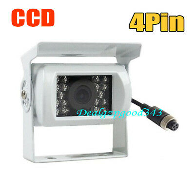 4Pin 12V Bus Trailer CCD 18 IR Night Vision Car Rear View Reverse Camera White