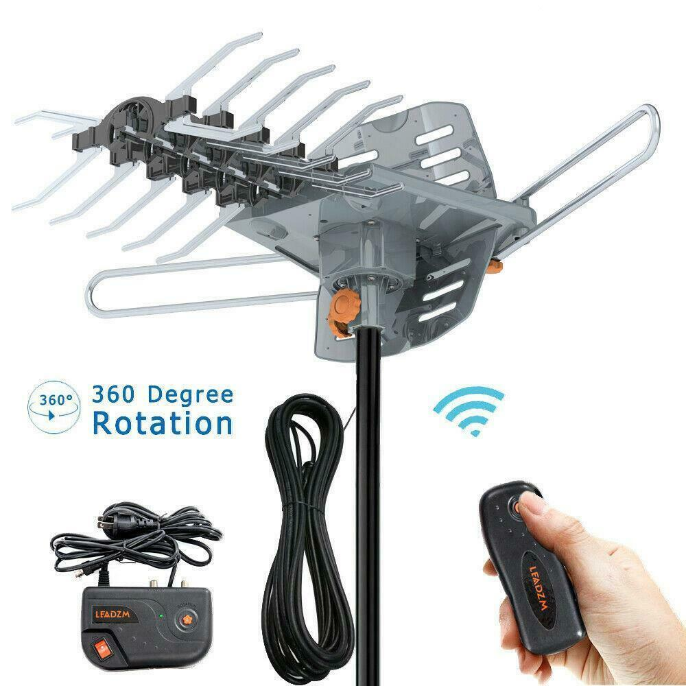 300mile 4K 1080P Outdoor Amplified HDTV TV Antenna UHF VHF 360° Rotation Remote. Available Now for 25.98