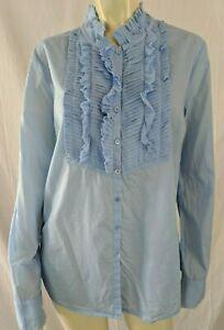 J-Crew-Blouse-12-Periwinkle-Sheer-Cotton-Tuxedo-Bib-Ruffles-Pleats-Button-Front