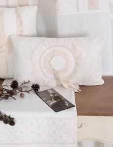 Dettagli su Cuscino Shabby Chic Spitzenblumen Cuscino Divano Bianco Cuscino  Divano