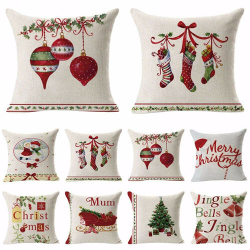 AU Xmas Linen ow Case Throw Waist Soft Cushion Cover Home Sofa Bed Decor Ne