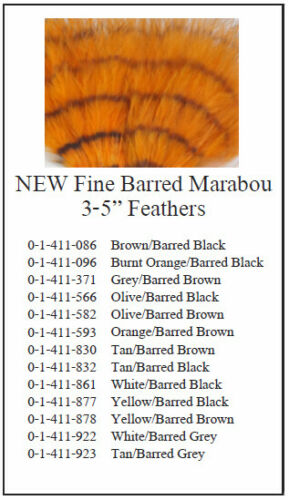 """Montana Fly Company 5/""""Yellow//Barred Brown 3/"""" MFC Fine Barred Marabou"""