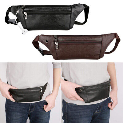 New Men Genuine Leather Cowhide Hip Belt Fanny Pack Waist Purse Sling Chest Bags
