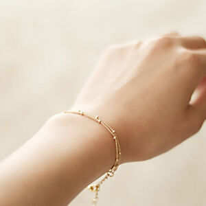 Women-Golden-Chain-Simple-Thin-Multi-Layer-Bead-Chain-Bracelet-Anklet-Jewelry-LE