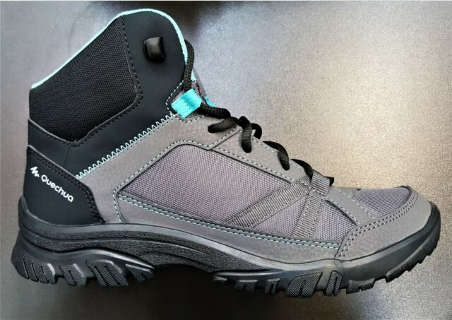 c58fe14f1be COMFORTABLE LIGHT QUECHUA MH 100 MID LADIES WOMEN HIKING BOOTS - GREY/BLUE