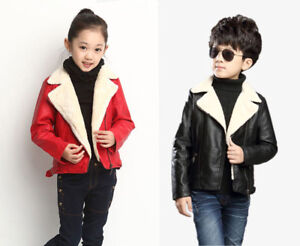 New Kids Fleece Jacket Leather Coat Warm Thicken Outerwear Boys Girls Winter