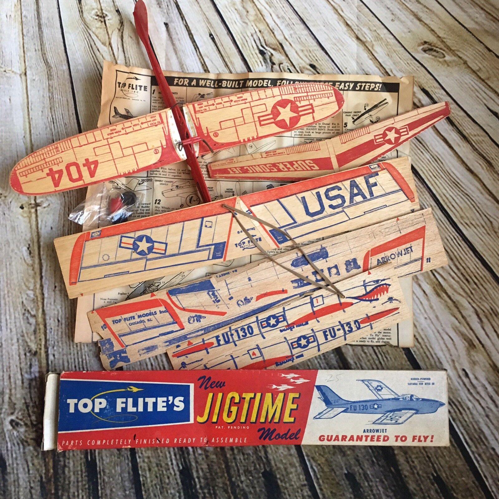 1950's TOP FLITE JIGTIME Super Sonic Arrowjet Balsa Wood Airplane Model Kit