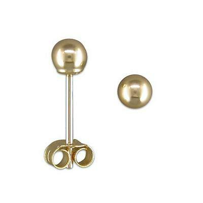 9ct Yellow Gold 5mm Classic Ball Studs Earrings 0.3g Womens Christmas Gift Boxed
