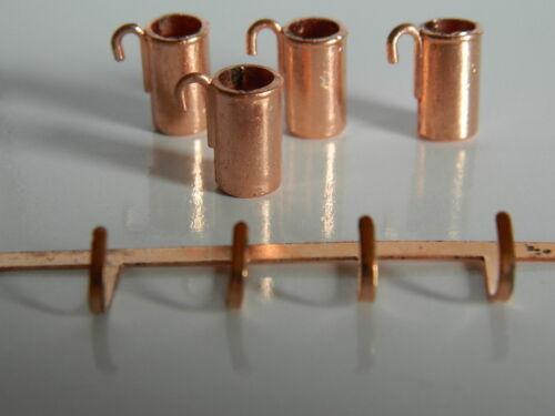 KP1.8 échelle 1//12th maison de poupées couleur cuivre métal Mesure Cruches et rack