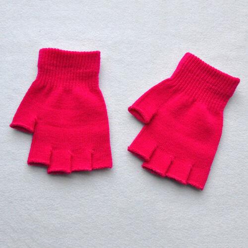 Couleur Unie Femmes Mitaines chaud Gants en Tricot Extensible moitié doigt extensible QK