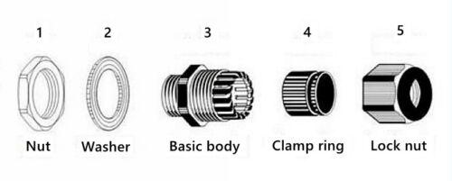 M20 M25 IP68 Cable Negro Nylon glándula Con Tuerca /& Lavadora-M12 M16 M32