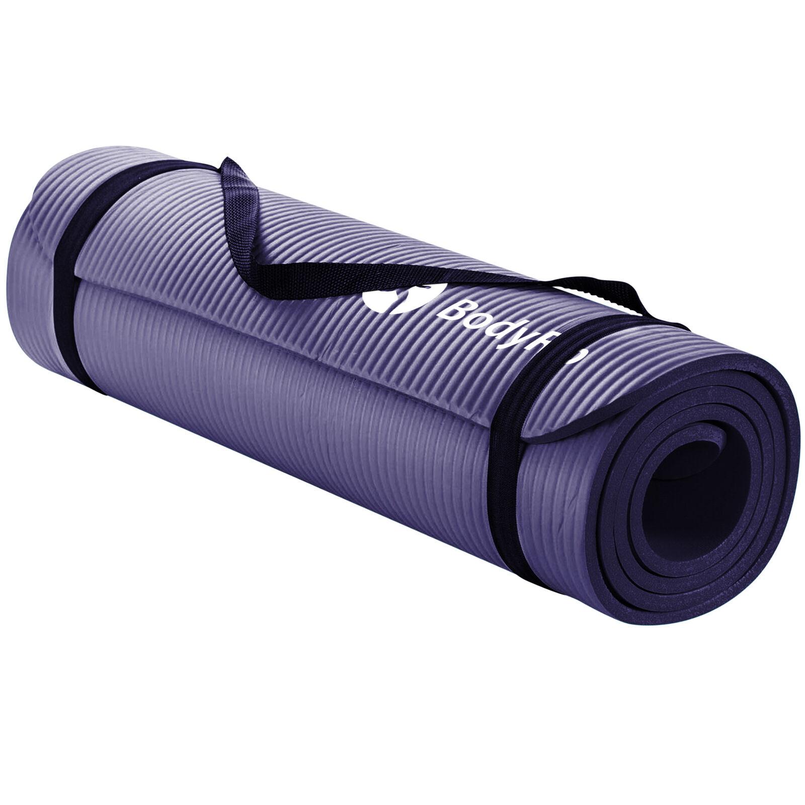 Yogamatte für Pilates Training Lila │ 15mm NBR Schaum TragerieSie von Bodyrip