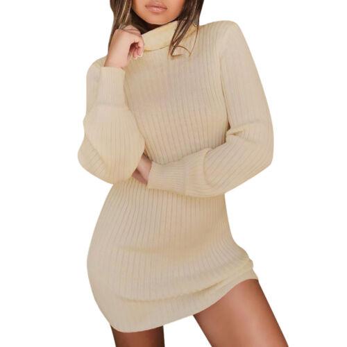 Women Fall Winter Bodycon Turtleneck Knitted Sweater Dress Jumper Knitwear New 9