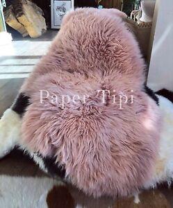 Dusky Rose Pink Sheepskin Rug Genuine