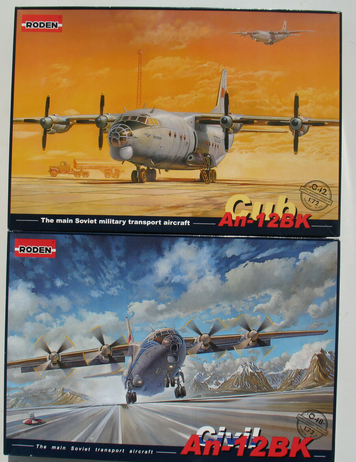 RODEN 042 + 048 - Antonov An-12BK Cub + Civil Transport - 1 72 Bausatz Model Kit