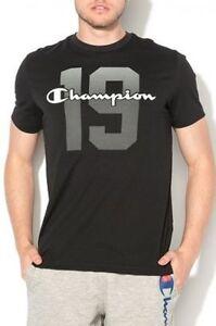 Champion-Logo-Imprime-T-SHIRT-HOMME-NOIR-Manches-Courtes-Top-Fashion-Tee