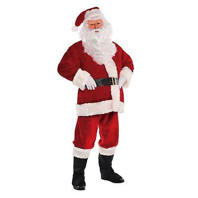 Budget Regal Velvet Plush 8 PCS Santa Suit Men Costume + Belt Wig Beard Gloves