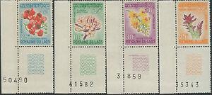 LAOS-1967-N-160-163-SERIE-FLEURS-BORD-DE-FEUILLE-NUMEROTE-SET-MNH