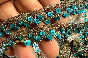 Crochet-Hand-Sewn-1-2-034-Trim-Glass-Beads-Sequins-Copper-Turquoise-1yd