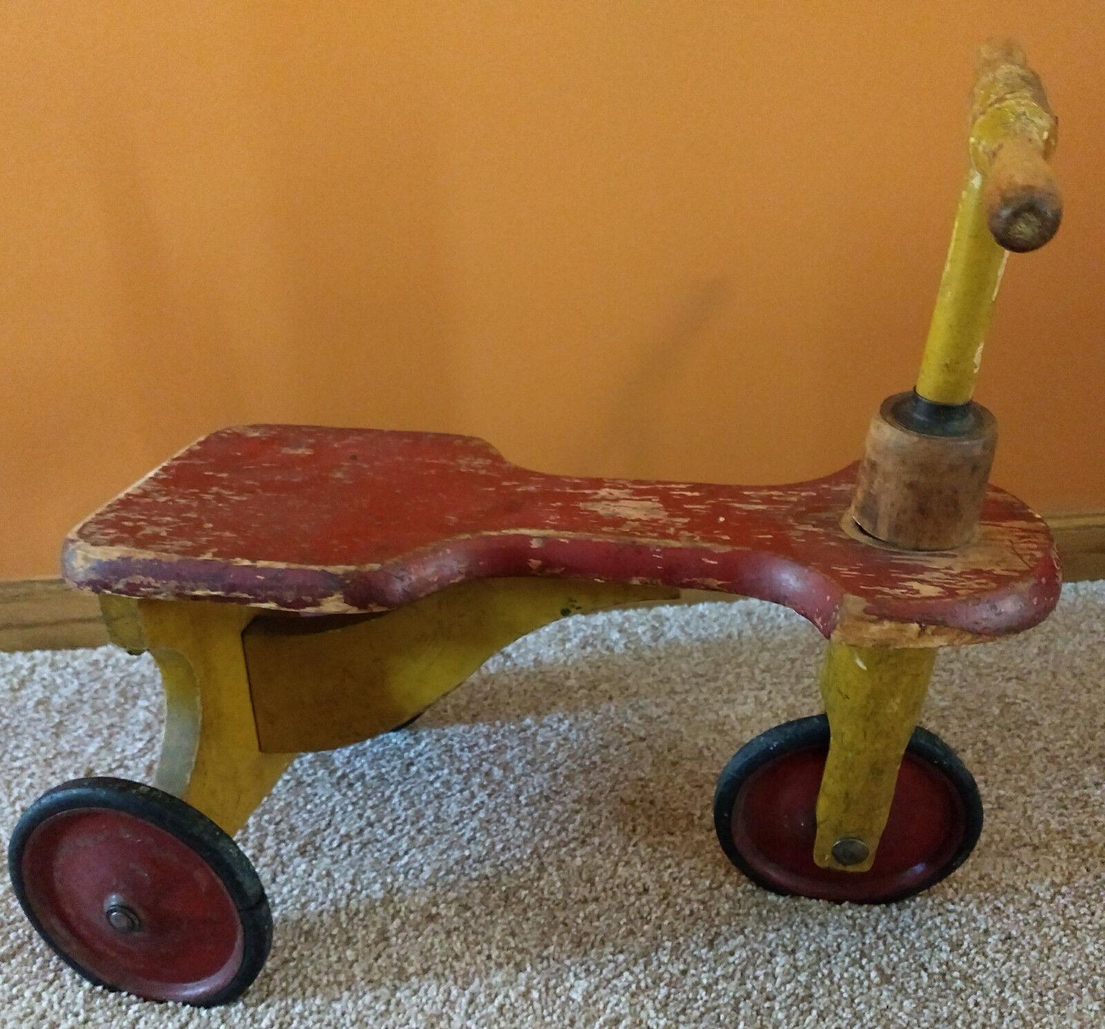 Juguete Antiguo De Madera Trike-hallazgo raro