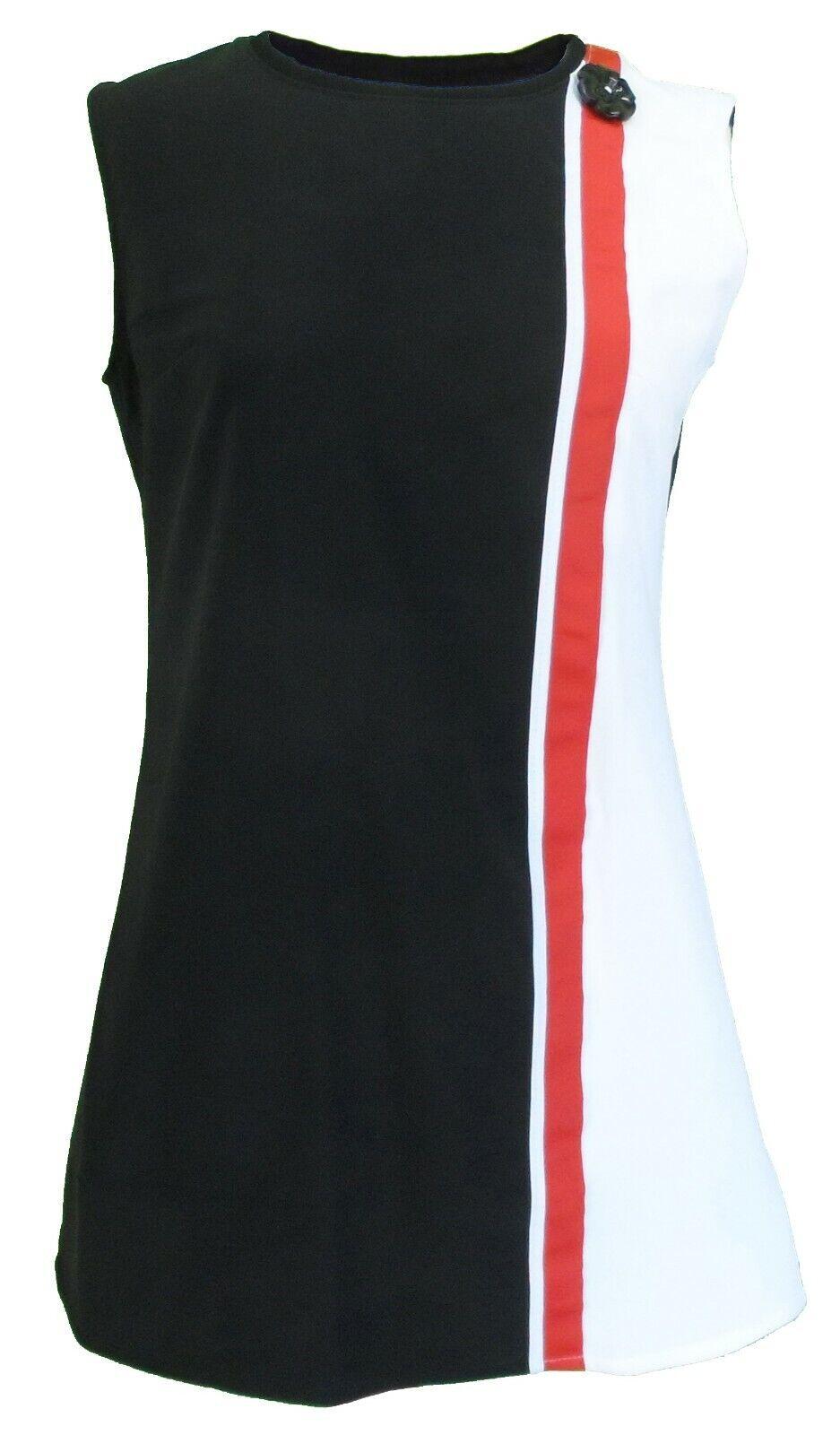 Ladies 60s Retro Mod Vintage schwarz Weiß rot Mini Dress