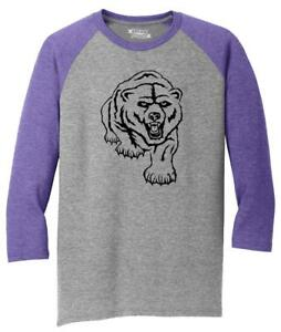 Mens-Bear-Graphic-Tee-3-4-Triblend-Camping-Animal