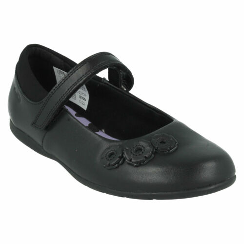 DANCE CRUSH GIRLS CLARKS RIPTAPE STRAP ROUND TOE MARY JANE LEATHER SCHOOL SHOES