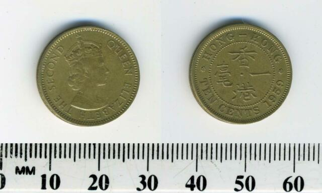 Hong Kong 1959 - 10 Cents Nickel Brass Coin - Queen Elizabeth II - #1