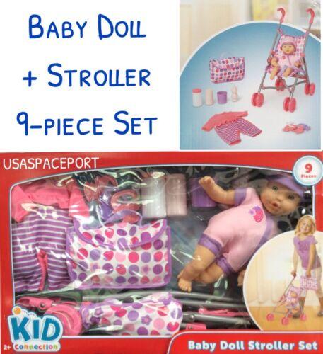 "Girls New 13/"" Baby Doll Child/'s Pink STROLLER Pram Set GIFT Clothes Diaper Bag"