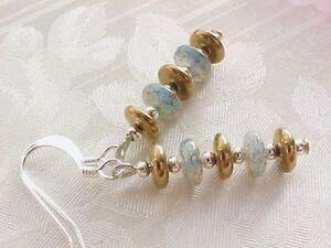 Modern-Stack-Earrings-Minimalist-Beach-Blue-Brown-Glass-Disc-Czech-Sand-Sea-Gift