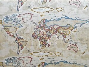 Prestigious textiles atlas world mapocean cotton curtain fabric image is loading prestigious textiles atlas world map ocean cotton curtain gumiabroncs Gallery