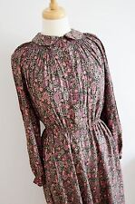 "1970's does 1930's 40's tea dress pterpan collar vintage floral uk 16 40"" bust"