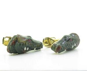 A-Fine-Pair-Of-Paul-Longmire-18k-Gold-Carved-Crocodile-Cufflinks