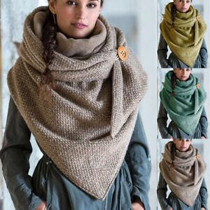 Women-Warm-Winter-Flower-Triangle-Scarf-Button-Soft-Neck-Wrap-Thick-Shawl