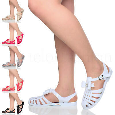 Ajvani Girls Children Kids Diamante Bow Strappy Summer Gladiator Sandals Fisherman Jellies Size