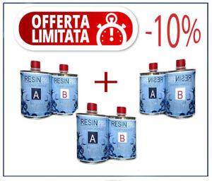 3-Paquets-de-Resine-Epoxy-Transparent-Gr-800-Composants-Totale-2-4-KG