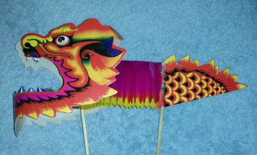 SALE! 2 Toy Paper Dragon Puppets, Unisex Children Chinese New Year Culture Gift