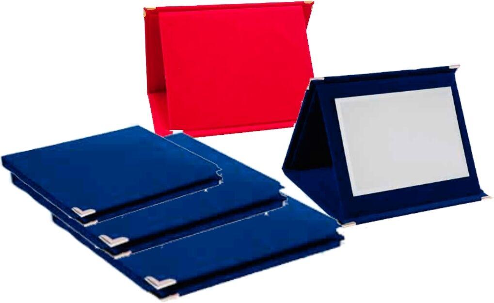 TRIS Astuccio Velluto Rosso o Blu con targha premiazioni sportive