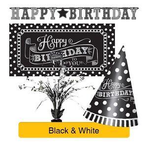 noir-et-blanc-gamme-de-fete-d-039-anniversaire-vaisselle-Banniere-Ballons-amp