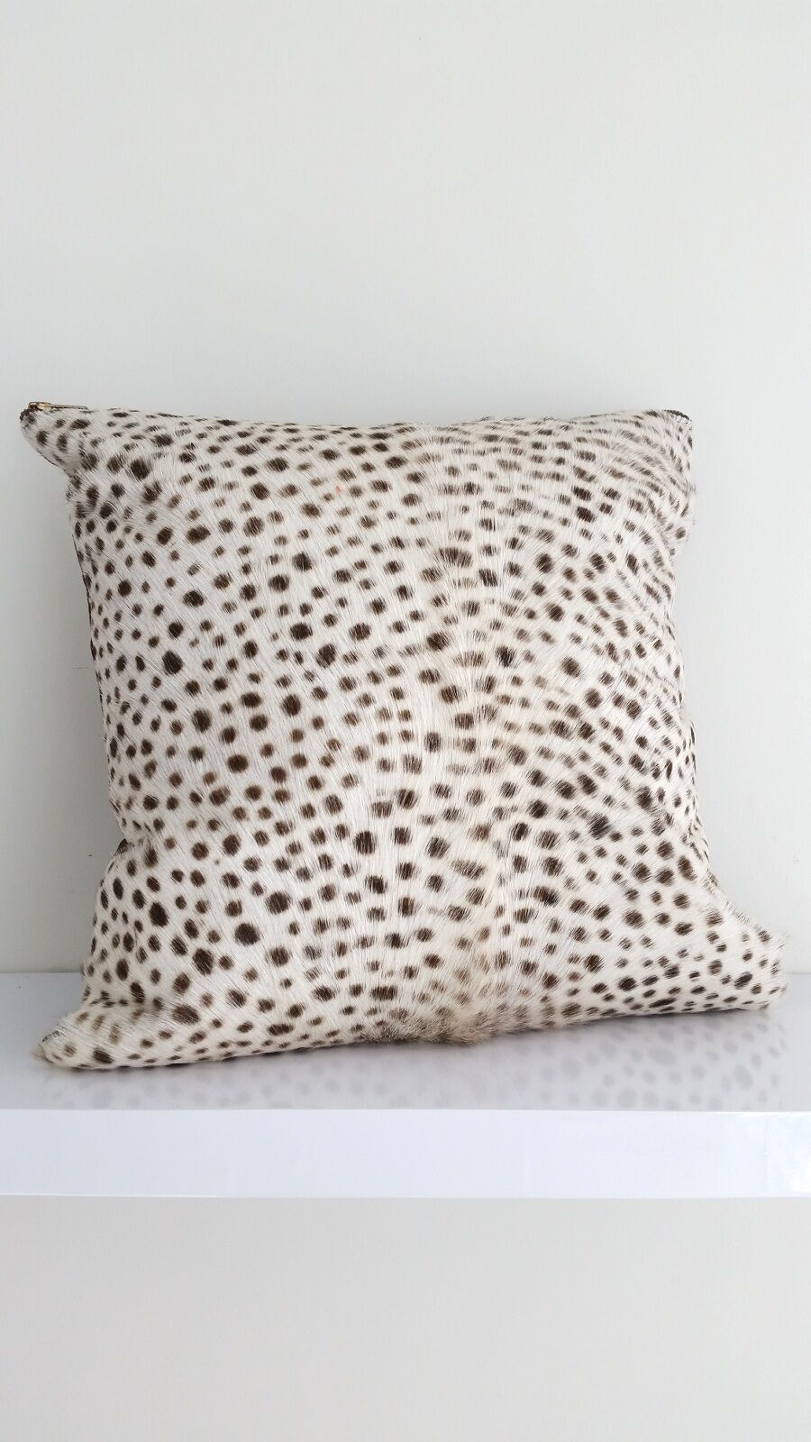 Genuine leather cover + cushion real fur hide hand painted leopard pattern  95
